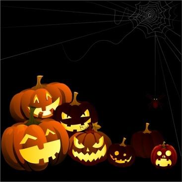 Halloween Pumpkins and Spider Web