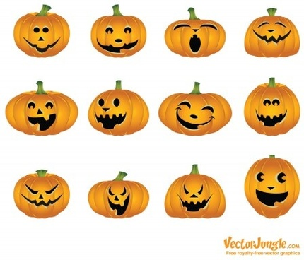 halloween pumpkins mixed icons vector