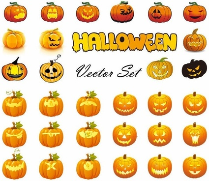 Halloween Pumpkins Mixed Mega Vector Collection
