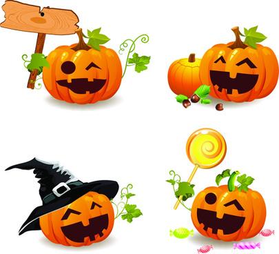 halloween pumpkins smile vector