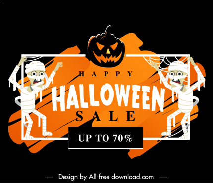 halloween sale banner dark horrible elements decor