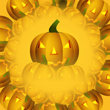 halloween scary yellow pumpkins colorful background illustration