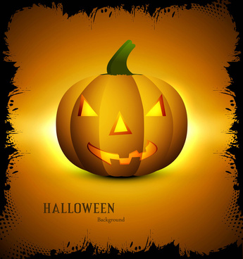 halloween scary yellow single pumpkins bright colorful background