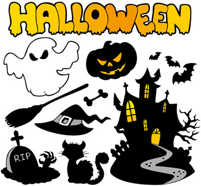 halloween series silhouette art vector