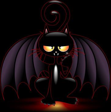 halloween spooky pumpkins and cat vector