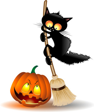 halloween spooky pumpkins and cat vector
