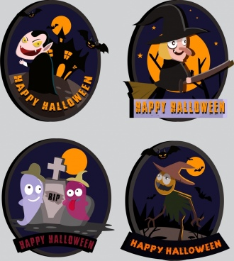 halloween stickers collection cute design scary icons decor