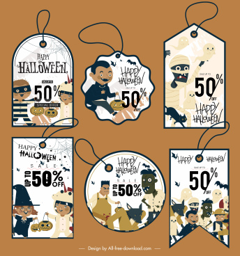 halloween tags templates horrible icons decor flat design