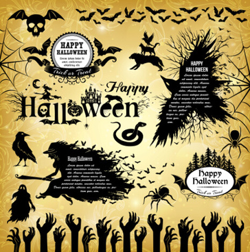 halloween text frame with design elements vector