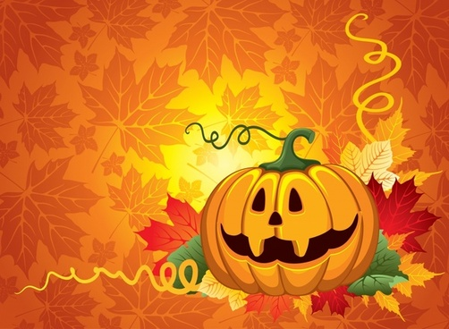 halloween background pumpkin leaves decor colorful bright design