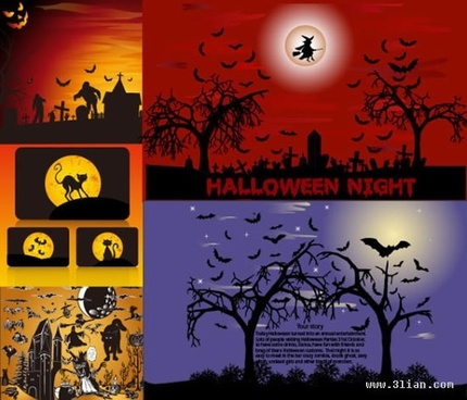 halloween background templates horror dark silhouettes decor