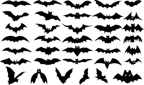 halloween design elements bats icons silhouettes design