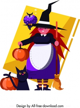 halloween witch painting cartoon characters colorful decor