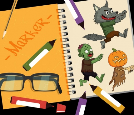 halloween workart background scary characters marker pens icons