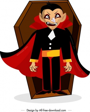 hallowen symbol painting dracula devil coffin icons