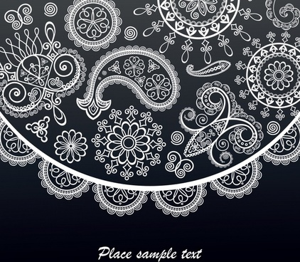 decorative pattern traditional lace decor flat shapes sketch