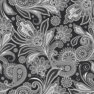 decorative pattern classical black white ethnic leaves mandala