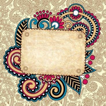 decorative pattern template retro colorful leaves doodle