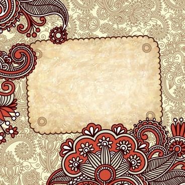 decorative pattern template formal retro floral design