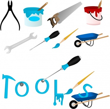 tooling objects icons colored modern sketch