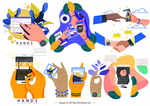 hand activities icons lifestyle sketch colorful design
