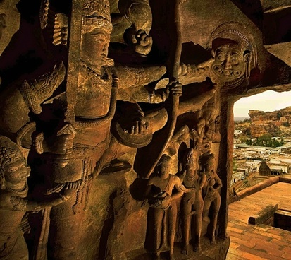 hand carved sand stone bluff cave