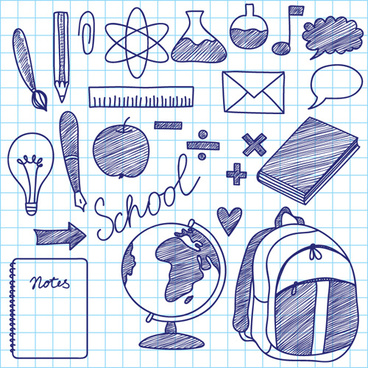 hand drawing blue school elements vector