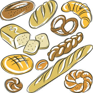hand drawing bread vector