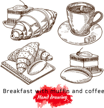 hand drawing breakfast with muffin and coffee vector