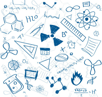hand drawing chemistry teaching elements vector
