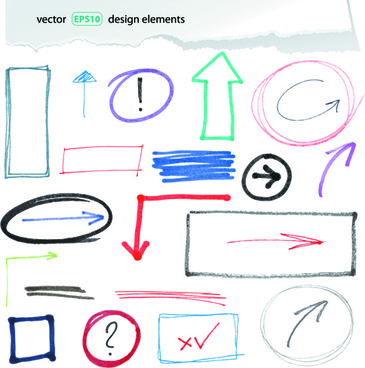 hand drawing different signs vectors graphics