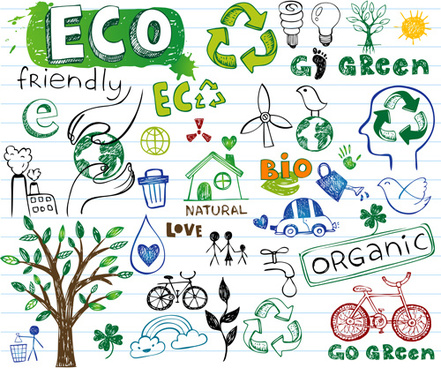 hand drawing eco elements vector illustration