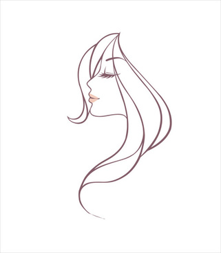 hand drawing girl head vector graphic