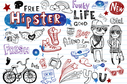 hand drawing hipster elements vector illustration