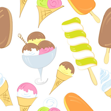 hand drawing ice cream seamless pattern vector