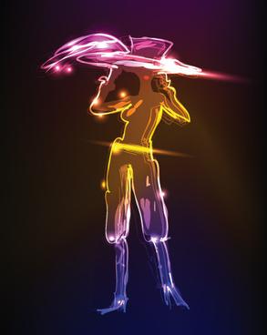 hand drawing neon light art elements vector