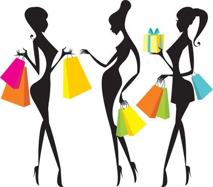 hand drawing shopping girls vector set
