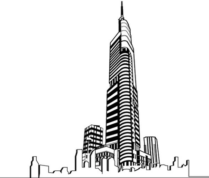 hand drawing skyscrapers design vector