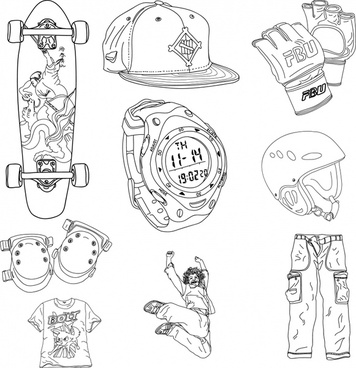 skater stuffs design elements black white handdrawn sketch