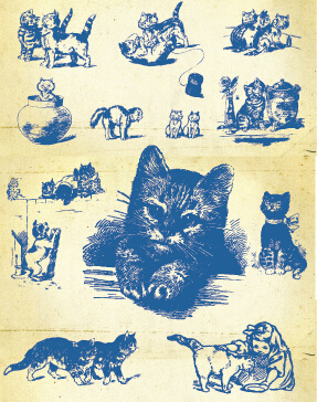 hand drawing vintage kittens vector