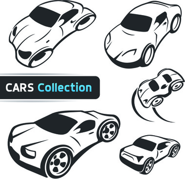 hand drawn abstract car set vector