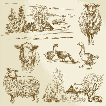 hand drawn agriculture with farm vectors