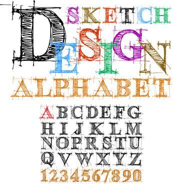 hand drawn alphabets design vector