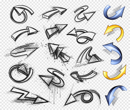 hand drawn arrows abstract vector