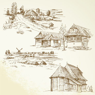 hand drawn autumn farm vector design