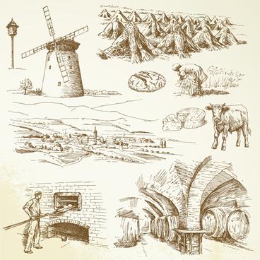 hand drawn autumn farm vector design