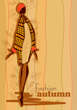 hand drawn autumn fashion girl design vector