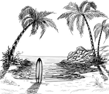 hand drawn beach black with white vector