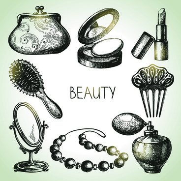 hand drawn beauty elements icons vector graphics