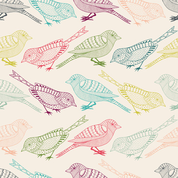hand drawn birds seamless pattern vector